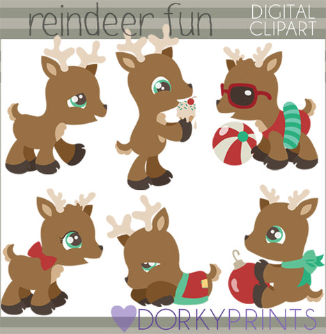 Reindeer Fun Christmas Clipart