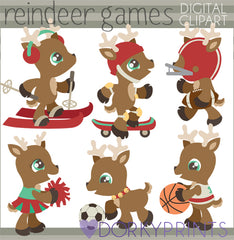 Reindeer Games Christmas Clipart