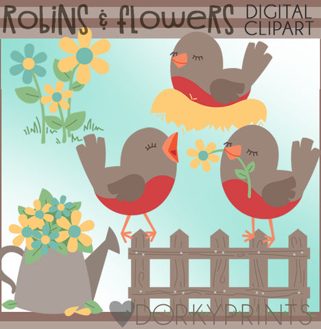 Robin and Flowers Spring Clipart