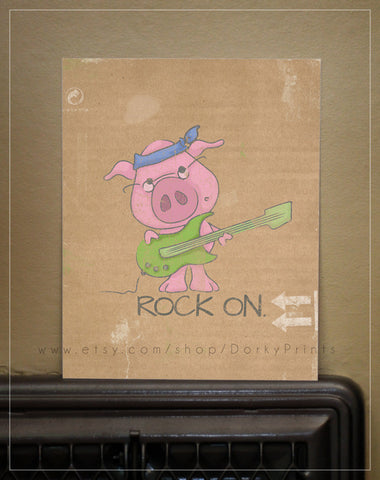 "Rock On Pig 8x10"" Printable"