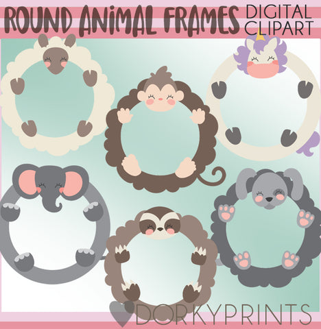 Round Frame Animals Clipart