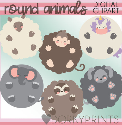 Round Animals Clipart