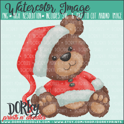 Santa Bear Watercolor PNG