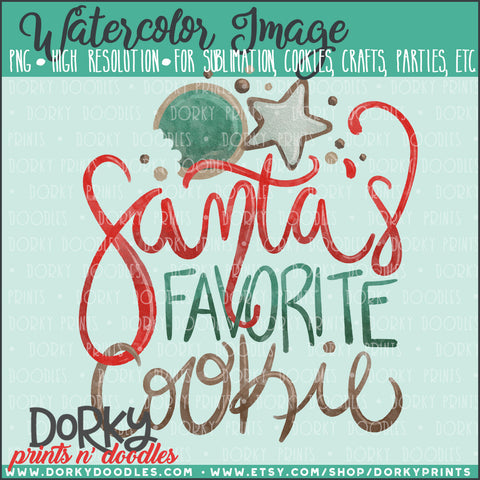 Santa's Favorite Cookie Watercolor PNG