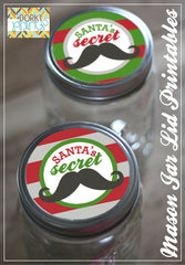 """Santa's Secret Stache"" Mason Jar Lid Labels Holiday Printables"