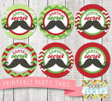 """Santa's Secret Stache"" Circle Tags Holiday Printables"