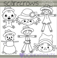 Scarecrow Black Line Thanksgiving Clipart