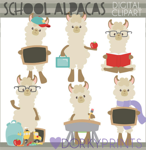Alpaca Back to School Clipart