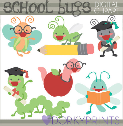 Bugs Graduation and Back to School Clipart