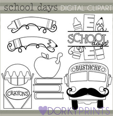 Black Line Days of School Clipart
