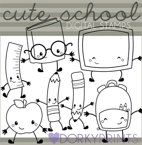 Black Line Kawaii School Clipart