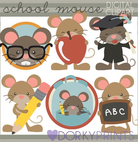 Mouse Back to School Clipart