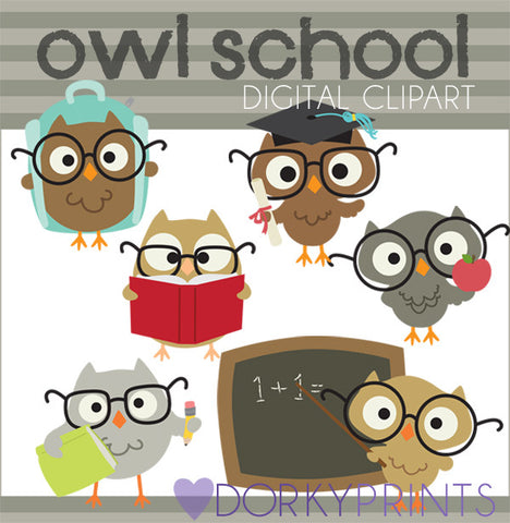 Owls Back to School Clipart
