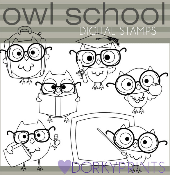 Owl Black Line School Clipart