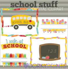 Pencil and Crayon Frames School Clipart