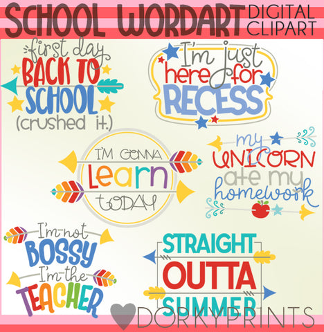 Wordart School Clipart