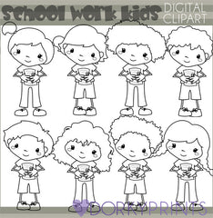 Blackline School Work Kids School Clipart