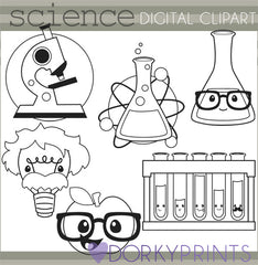 Science Black Line School Clipart