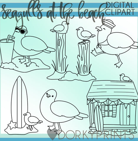 Blackline Seagulls of Summer Clipart