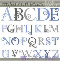 Serifs and Swirls Alphabet Symbols Clipart