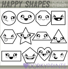 Blackline Shapes School Clipart