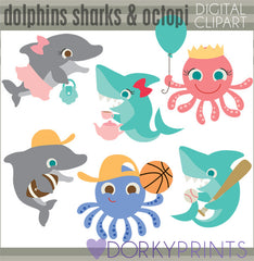 More Ocean Animals Summer Clipart