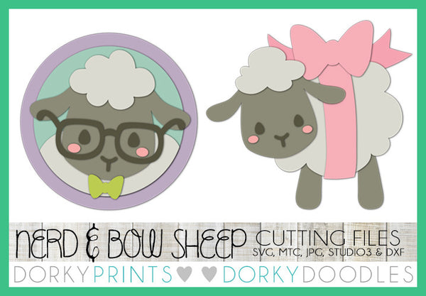Easter Sheep with Glasses and Bow SVG Cuttable Files