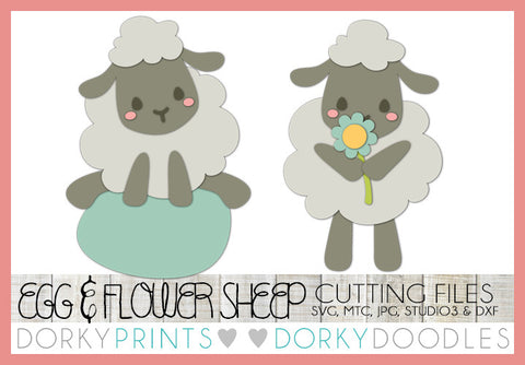 Easter Sheep with Flower and Egg SVG Cuttable Files