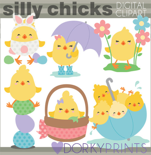 Silly Chicks Spring Clipart