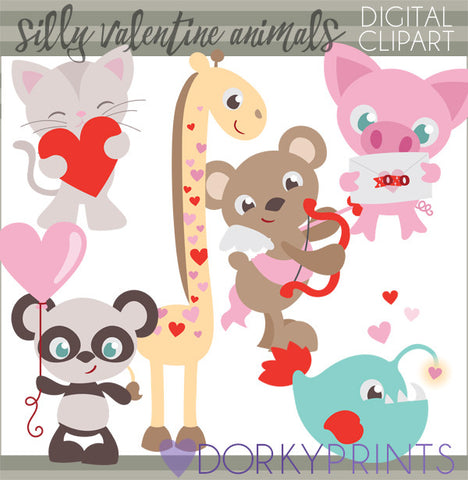 Silly Animal Valentine Clipart