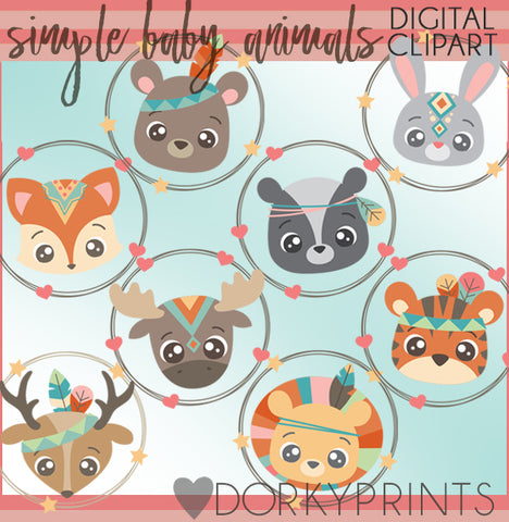 Baby Tribal Animals Clipart