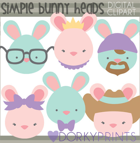 Simple Easter Bunnies Spring Clipart