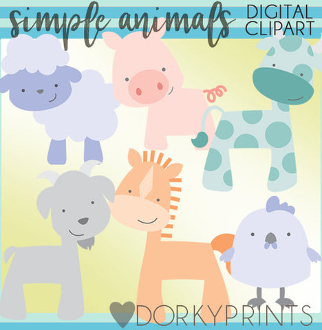Simple Farm Animals Clipart