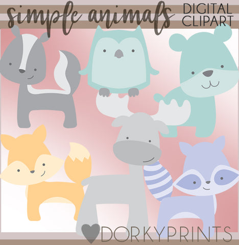 Simple Forest Animals Clipart