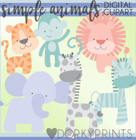 Simple Jungle Animals Clipart