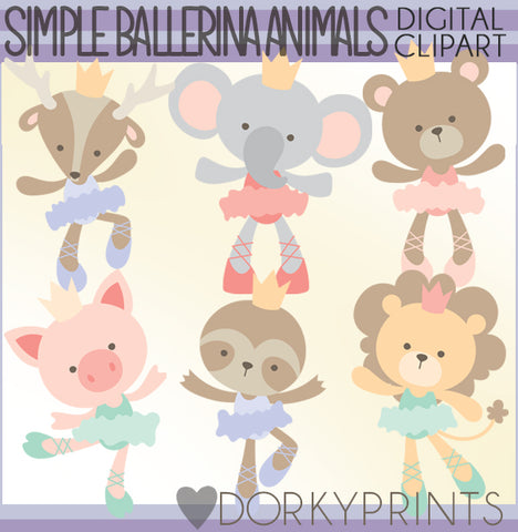 Simple Ballerina Animals Clipart