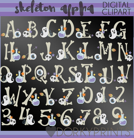 Skeleton Font and Symbols Clipart