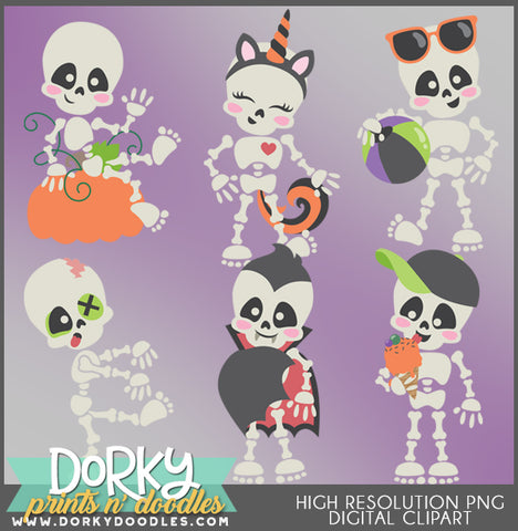 Cute Skeleton Halloween Clipart