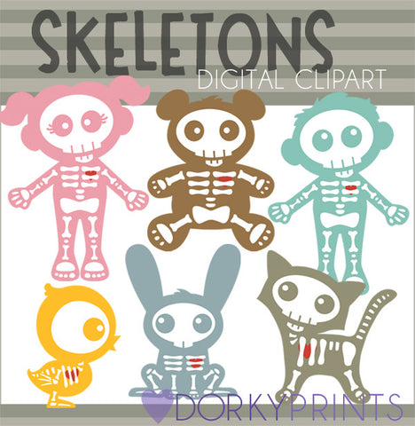 Cute Skeletons Halloween Clipart