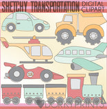 Sketchy Transportation Vehicles Clipart