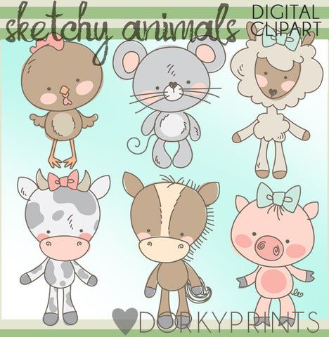 Sketchy Farm Animals Clipart