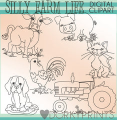 Blackline Silly Farm Animals Clipart