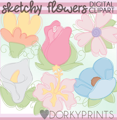 Sketchy Flowers Spring Clipart
