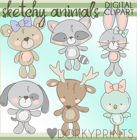 Sketchy Forest Animals Clipart