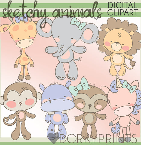 Sketchy Jungle Animals Clipart