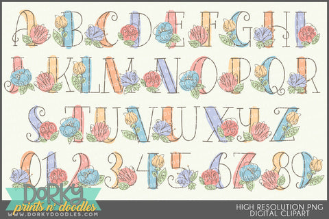 Sketchy Flower Font and Symbols Clipart