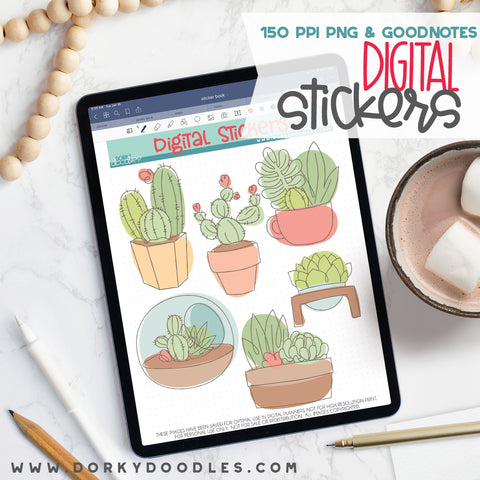 Sketchy Succulent Digital Planner Stickers
