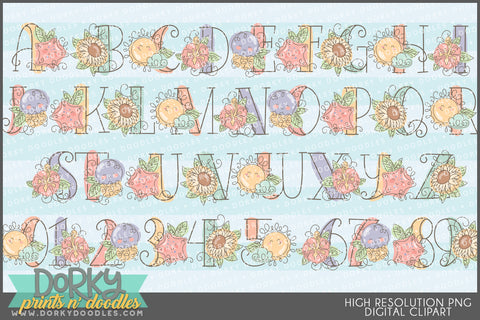 Sketchy Summer Font and Symbols Clipart