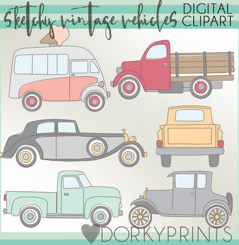 Sketchy Vintage Vehicles Clipart