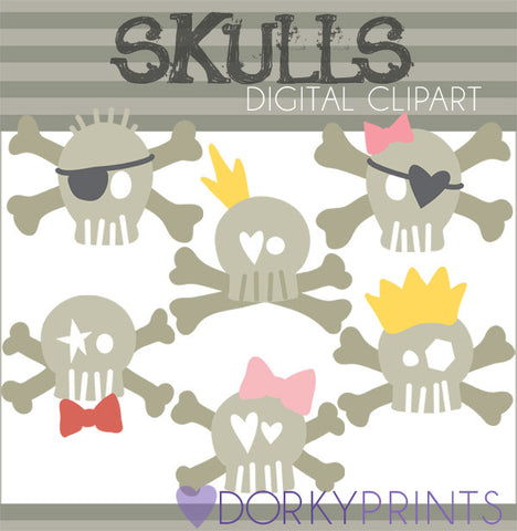 Cute Skulls Halloween Clipart